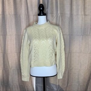 Woven Heart Open Stitch Pullover Sweater